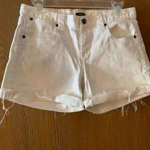 Frayed Edge White Denim Short